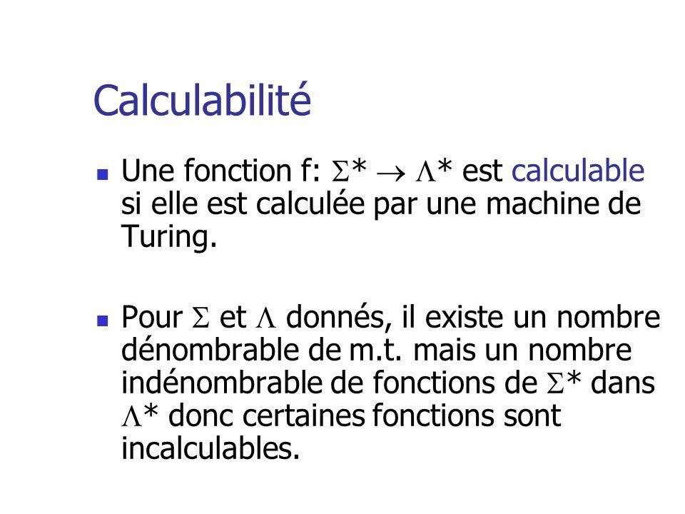 Calculabilité  Une fonction f:  *   * est calculable si elle est calculée par une machine de Turing.