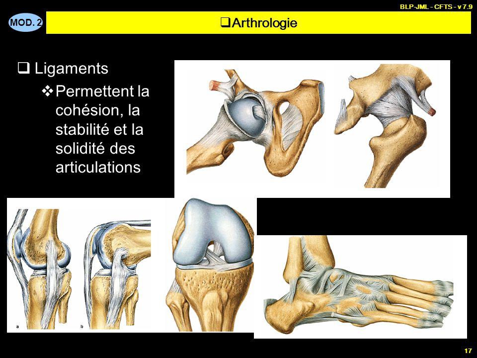 MOD. 2 BLP-JML - CFTS - v 7.9 17  Ligaments  Permettent la cohésion, la stabilité et la solidité des articulations  Arthrologie