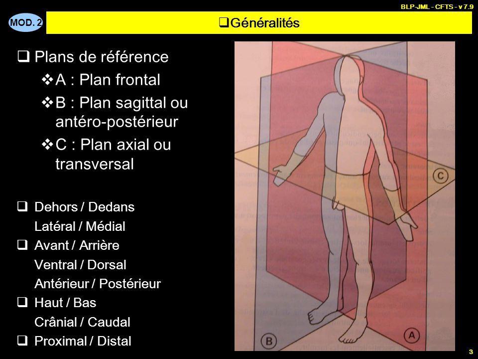 MOD. 2 BLP-JML - CFTS - v 7.9 3  Généralités  Plans de référence  A : Plan frontal  B : Plan sagittal ou antéro-postérieur  C : Plan axial ou tra