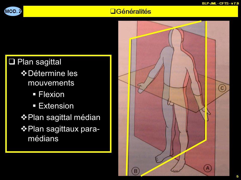 MOD. 2 BLP-JML - CFTS - v 7.9 5  Généralités  Plan sagittal  Détermine les mouvements  Flexion  Extension  Plan sagittal médian  Plan sagittaux