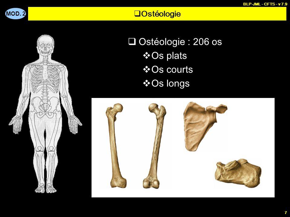 MOD. 2 BLP-JML - CFTS - v 7.9 7  Ostéologie : 206 os  Os plats  Os courts  Os longs  Ostéologie