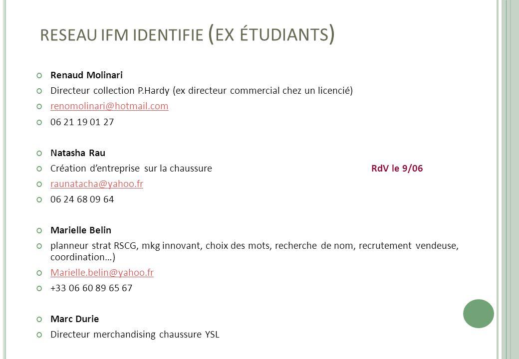 RESEAU IFM IDENTIFIE ( EX ÉTUDIANTS ) Renaud Molinari Directeur collection P.Hardy (ex directeur commercial chez un licencié) renomolinari@hotmail.com