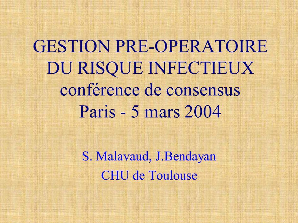 GESTION PRE-OPERATOIRE DU RISQUE INFECTIEUX conférence de consensus Paris - 5 mars 2004 S. Malavaud, J.Bendayan CHU de Toulouse