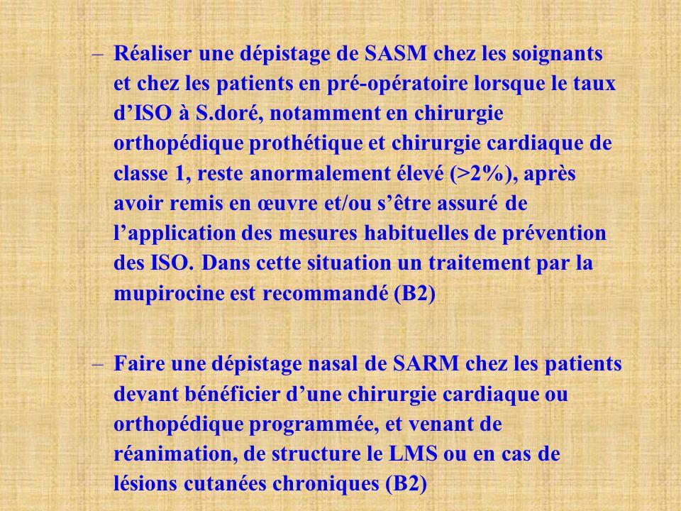 –Réaliser une dépistage de SASM chez les soignants et chez les patients en pré-opératoire lorsque le taux d'ISO à S.doré, notamment en chirurgie ortho