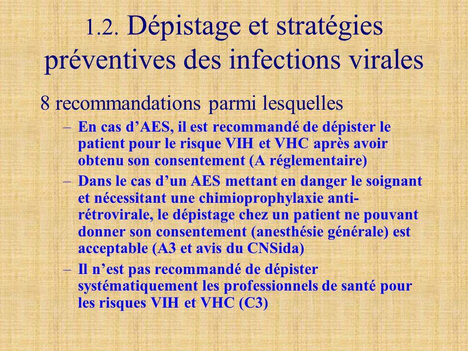 1.2. Dépistage et stratégies préventives des infections virales 8 recommandations parmi lesquelles –En cas d'AES, il est recommandé de dépister le pat