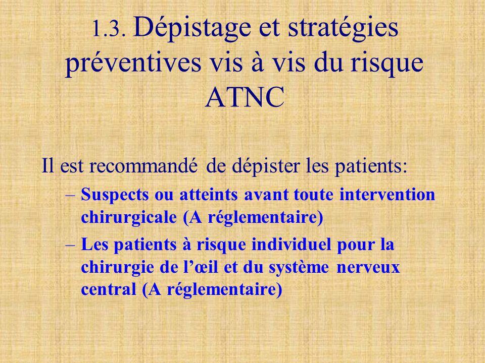 1.3. Dépistage et stratégies préventives vis à vis du risque ATNC Il est recommandé de dépister les patients: –Suspects ou atteints avant toute interv