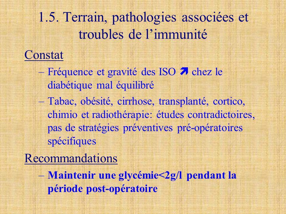 1.5. Terrain, pathologies associées et troubles de l'immunité Constat –Fréquence et gravité des ISO  chez le diabétique mal équilibré –Tabac, obésité