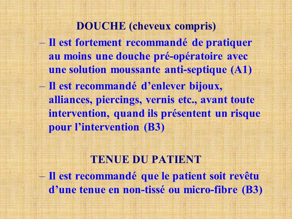 DOUCHE (cheveux compris) –Il est fortement recommandé de pratiquer au moins une douche pré-opératoire avec une solution moussante anti-septique (A1) –
