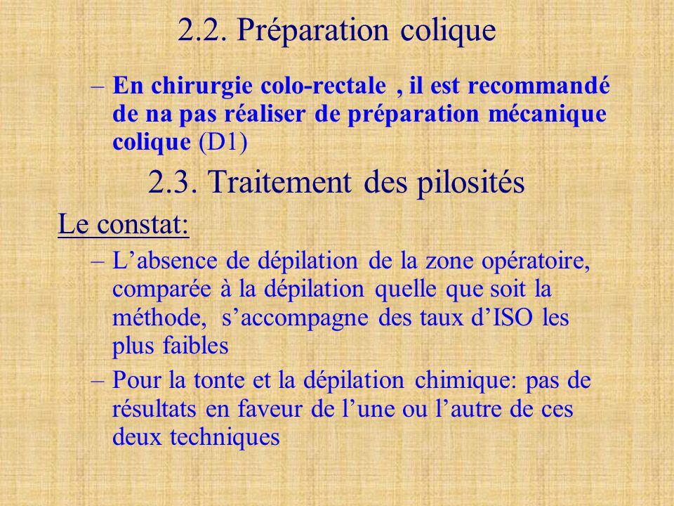 2.2. Préparation colique –En chirurgie colo-rectale, il est recommandé de na pas réaliser de préparation mécanique colique (D1) 2.3. Traitement des pi