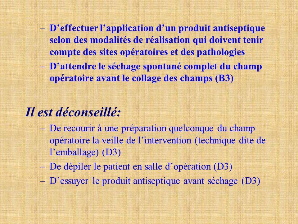 –D'effectuer l'application d'un produit antiseptique selon des modalités de réalisation qui doivent tenir compte des sites opératoires et des patholog