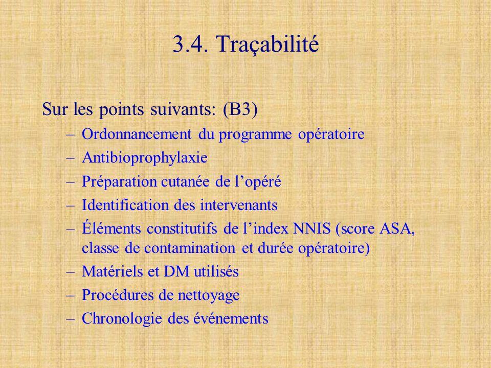 3.4. Traçabilité Sur les points suivants: (B3) –Ordonnancement du programme opératoire –Antibioprophylaxie –Préparation cutanée de l'opéré –Identifica