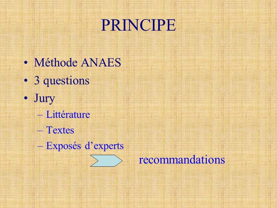 PRINCIPE •Méthode ANAES •3 questions •Jury –Littérature –Textes –Exposés d'experts recommandations
