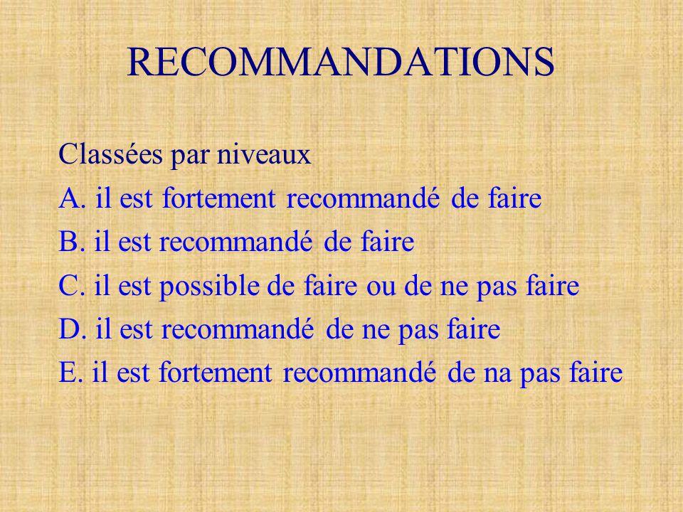 RECOMMANDATIONS Classées par niveaux A. il est fortement recommandé de faire B. il est recommandé de faire C. il est possible de faire ou de ne pas fa