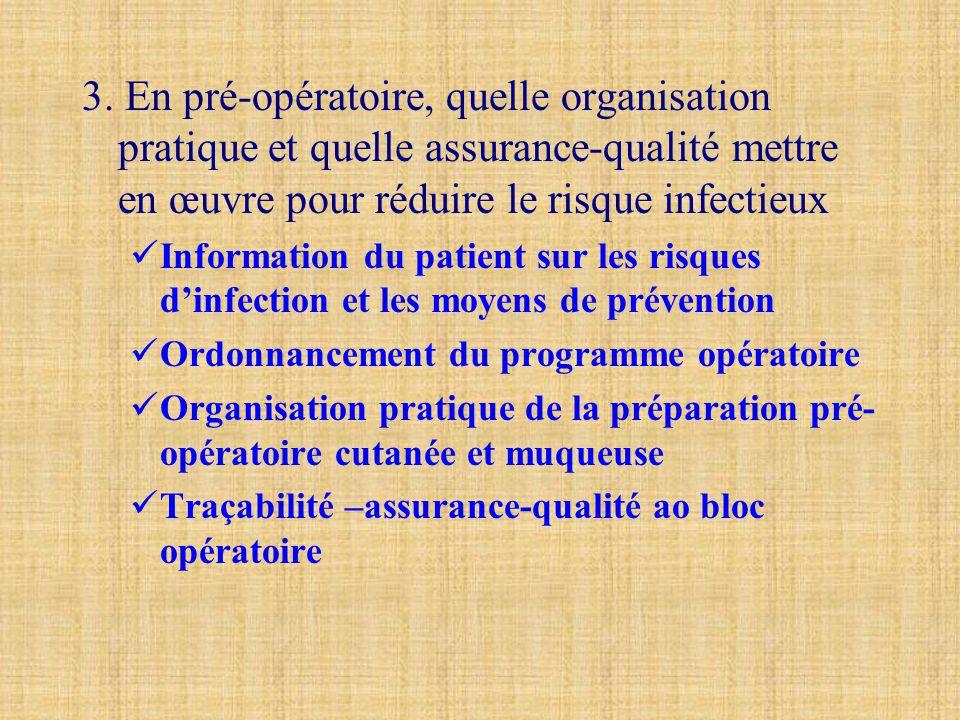 3. En pré-opératoire, quelle organisation pratique et quelle assurance-qualité mettre en œuvre pour réduire le risque infectieux  Information du pati
