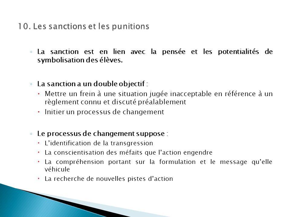 ◦ La sanction est en lien avec la pensée et les potentialités de symbolisation des élèves. ◦ La sanction a un double objectif :  Mettre un frein à un
