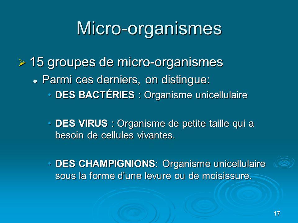 17 Micro-organismes  15 groupes de micro-organismes  Parmi ces derniers, on distingue: •DES BACTÉRIES : Organisme unicellulaire •DES VIRUS : Organis