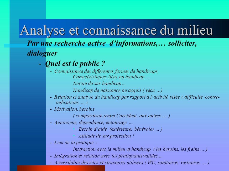 Analyse et connaissance du milieu Par une recherche active d'informations,… solliciter, dialoguer - Quel est le public ? - Connaissance des différente