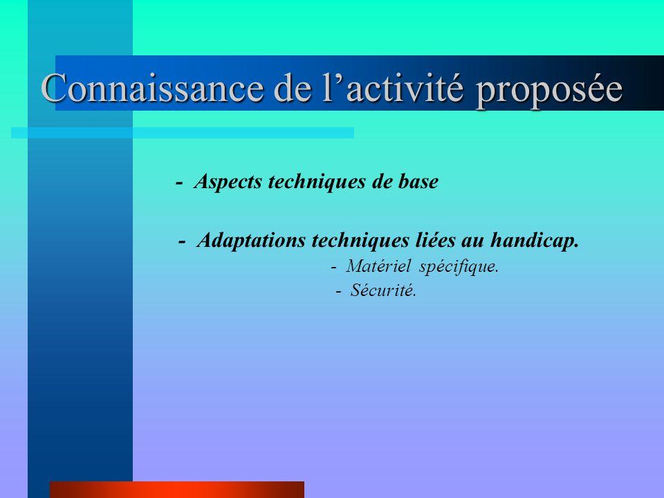 Connaissance de l'activité proposée - Aspects techniques de base - Adaptations techniques liées au handicap. - Matériel spécifique. - Sécurité.