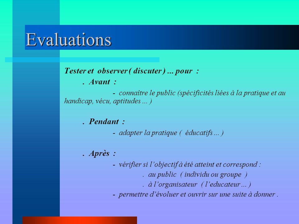 Evaluations Tester et observer ( discuter )... pour :. Avant : - connaître le public (spécificités liées à la pratique et au handicap, vécu, aptitudes