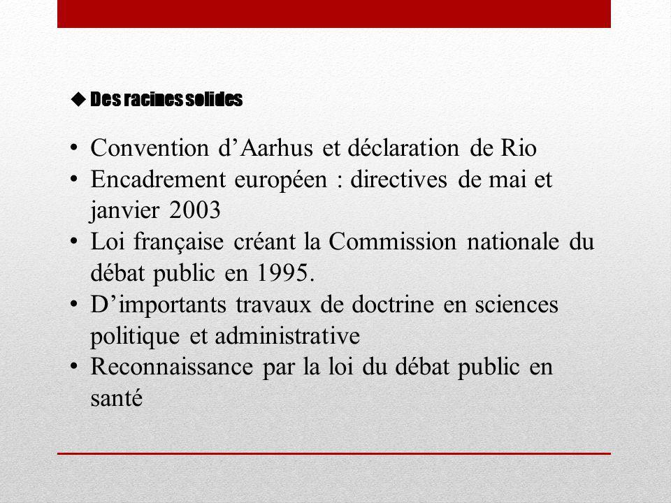  Des racines solides • Convention d'Aarhus et déclaration de Rio • Encadrement européen : directives de mai et janvier 2003 • Loi française créant la Commission nationale du débat public en 1995.