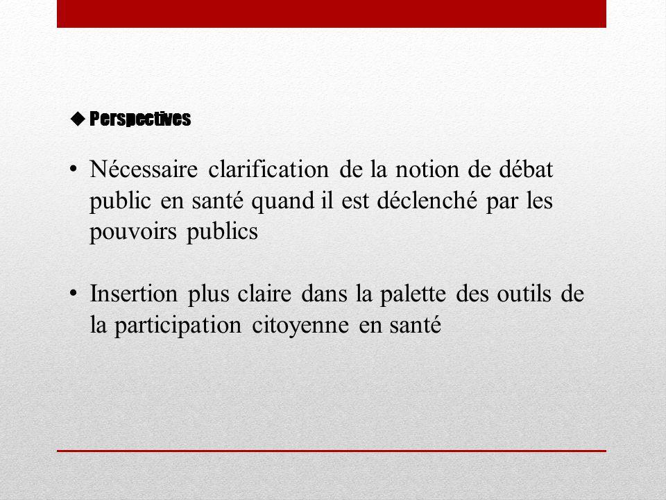  Perspectives • Nécessaire clarification de la notion de débat public en santé quand il est déclenché par les pouvoirs publics • Insertion plus claire dans la palette des outils de la participation citoyenne en santé