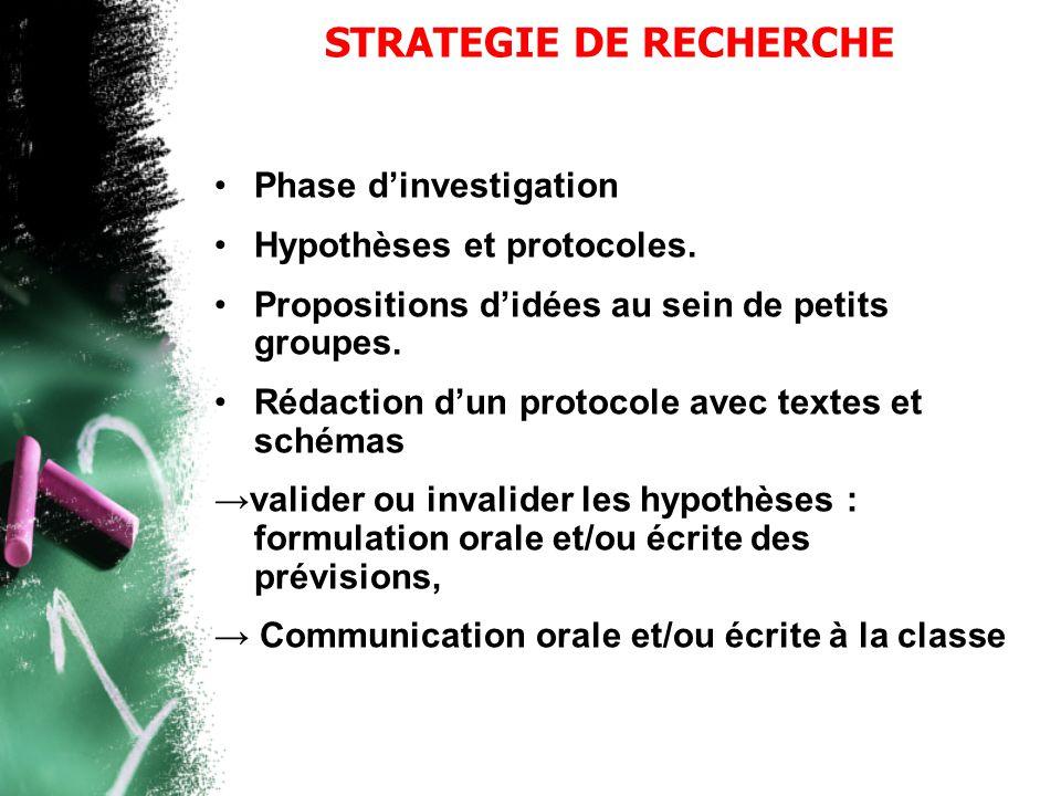 STRATEGIE DE RECHERCHE •Phase d'investigation •Hypothèses et protocoles. •Propositions d'idées au sein de petits groupes. •Rédaction d'un protocole av