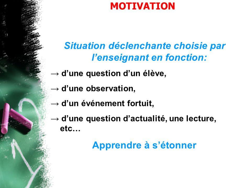 MOTIVATION Situation déclenchante choisie par l'enseignant en fonction: → d'une question d'un élève, → d'une observation, → d'un événement fortuit, →