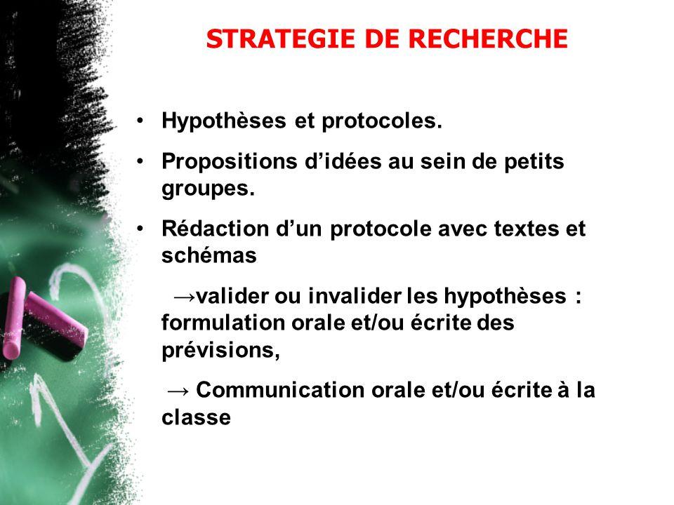 STRATEGIE DE RECHERCHE •Hypothèses et protocoles. •Propositions d'idées au sein de petits groupes. •Rédaction d'un protocole avec textes et schémas →v