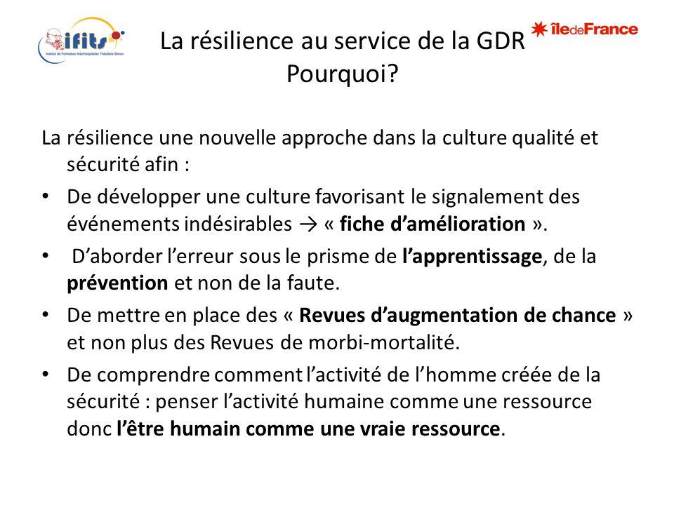 La résilience au service de la GDR Pourquoi? La résilience une nouvelle approche dans la culture qualité et sécurité afin : • De développer une cultur