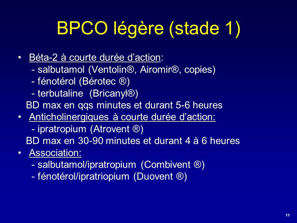 BPCO légère (stade 1) •Béta-2 à courte durée d'action: - salbutamol (Ventolin®, Airomir®, copies) - fénotérol (Bérotec ®) - terbutaline (Bricanyl®) BD