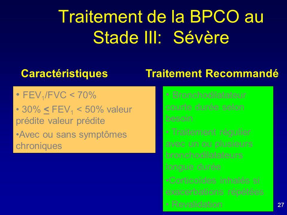 Traitement de la BPCO au Stade III: Sévère Caractéristiques Traitement Recommandé • FEV 1 /FVC < 70% • 30% < FEV 1 < 50% valeur prédite valeur prédite