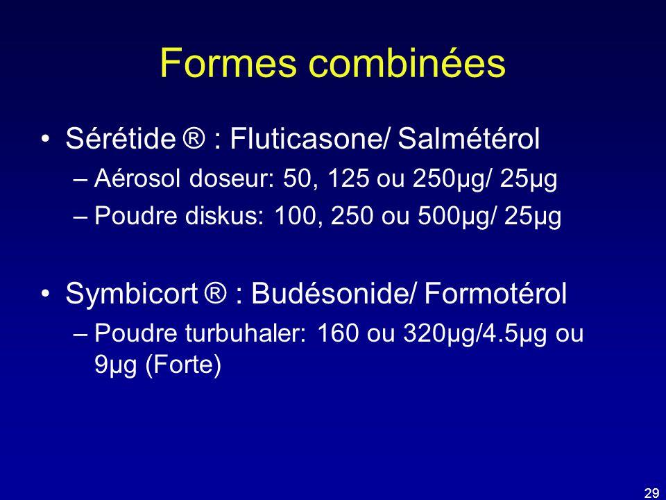 Formes combinées •Sérétide ® : Fluticasone/ Salmétérol –Aérosol doseur: 50, 125 ou 250µg/ 25µg –Poudre diskus: 100, 250 ou 500µg/ 25µg •Symbicort ® :