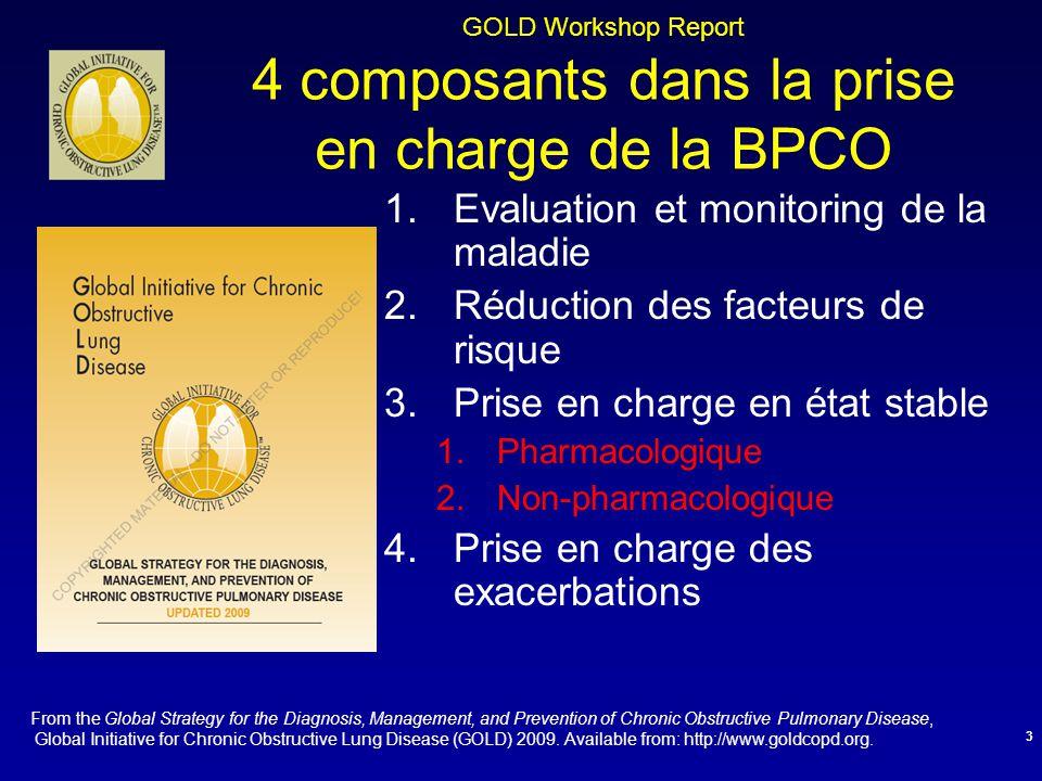 GOLD Workshop Report 4 composants dans la prise en charge de la BPCO 1.Evaluation et monitoring de la maladie 2.Réduction des facteurs de risque 3.Pri