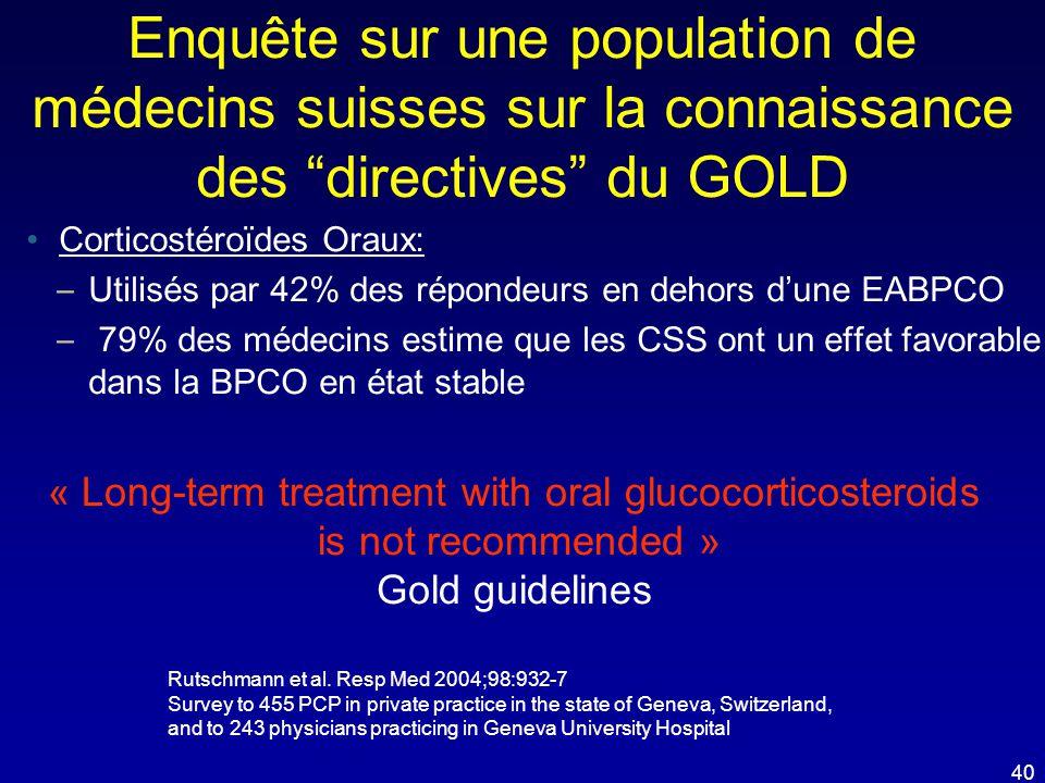 """Enquête sur une population de médecins suisses sur la connaissance des """"directives"""" du GOLD •Corticostéroïdes Oraux: – Utilisés par 42% des répondeurs"""