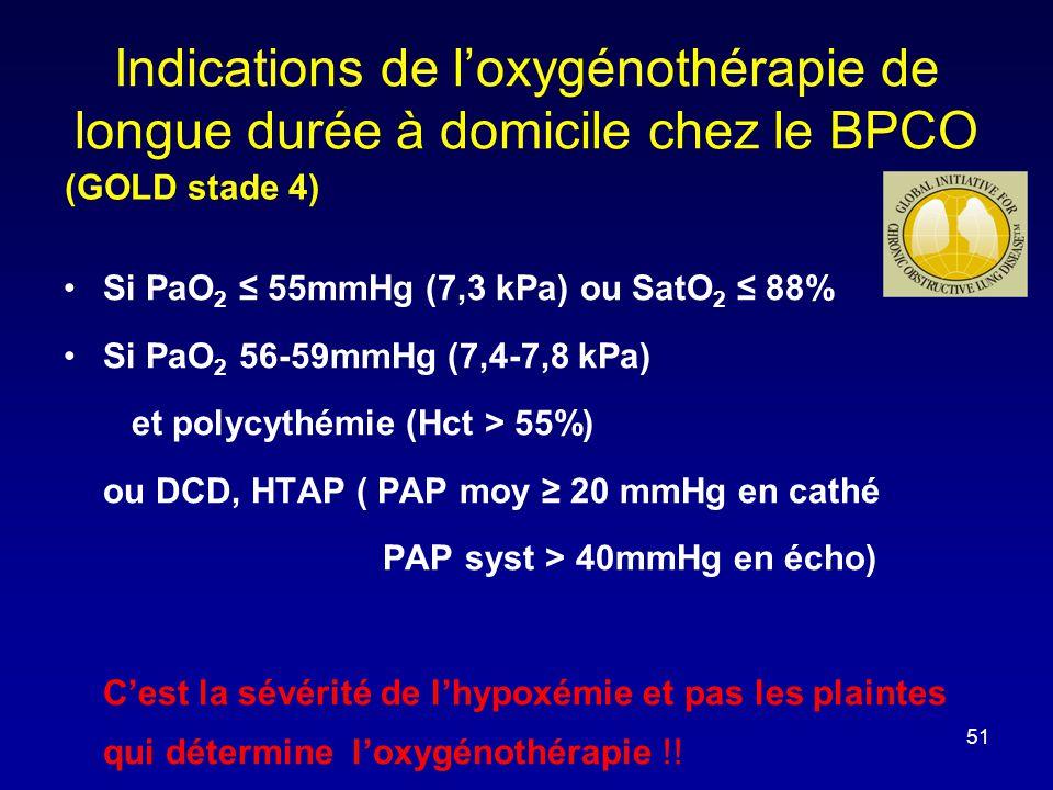 (GOLD stade 4) Indications de l'oxygénothérapie de longue durée à domicile chez le BPCO •Si PaO 2 ≤ 55mmHg (7,3 kPa) ou SatO 2 ≤ 88% •Si PaO 2 56-59mm