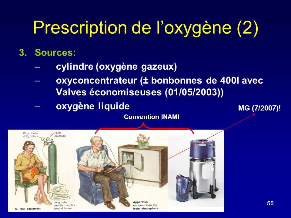 Prescription de l'oxygène (2) 3.Sources: –cylindre (oxygène gazeux) –oxyconcentrateur (± bonbonnes de 400l avec Valves économiseuses (01/05/2003)) –ox