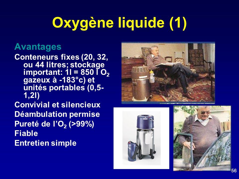 Oxygène liquide (1) Avantages Conteneurs fixes (20, 32, ou 44 litres; stockage important: 1l = 850 l O 2 gazeux à -183°c) et unités portables (0,5- 1,