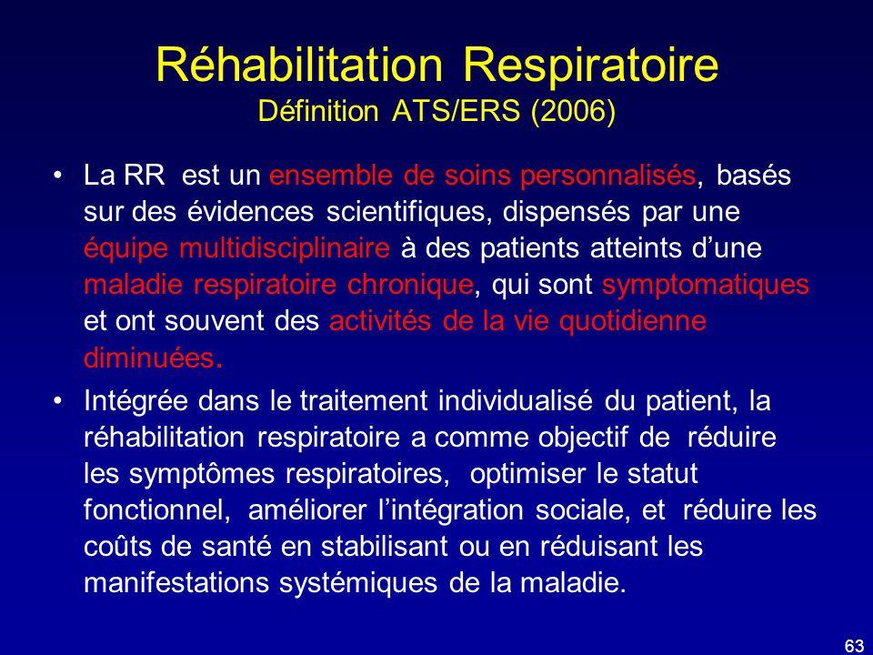 Réhabilitation Respiratoire Définition ATS/ERS (2006) •La RR est un ensemble de soins personnalisés, basés sur des évidences scientifiques, dispensés
