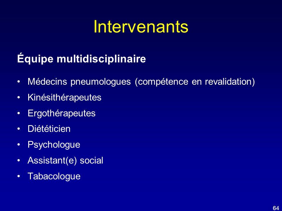Intervenants Équipe multidisciplinaire •Médecins pneumologues (compétence en revalidation) •Kinésithérapeutes •Ergothérapeutes •Diététicien •Psycholog