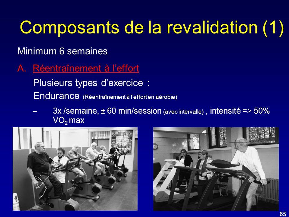 Composants de la revalidation (1) Minimum 6 semaines A.Réentraînement à l'effort Plusieurs types d'exercice : Endurance (Réentraînement à l'effort en