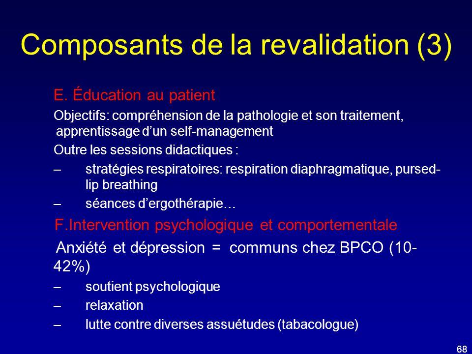 Composants de la revalidation (3) E. Éducation au patient Objectifs: compréhension de la pathologie et son traitement, apprentissage d'un self-managem