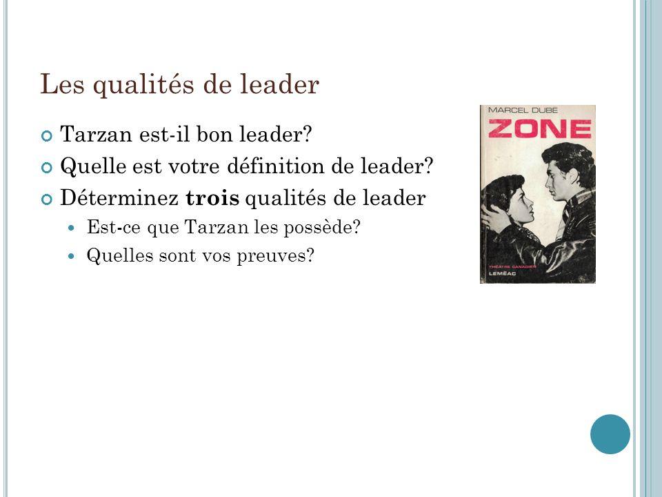 Les qualités de leader Tarzan est-il bon leader.Quelle est votre définition de leader.