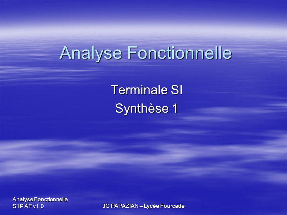 Analyse Fonctionnelle S1P AF v1.0JC PAPAZIAN – Lycée Fourcade 1- Introduction  L'approche fonctionnelle est l'outil indispensable pour  Concevoir un produit.