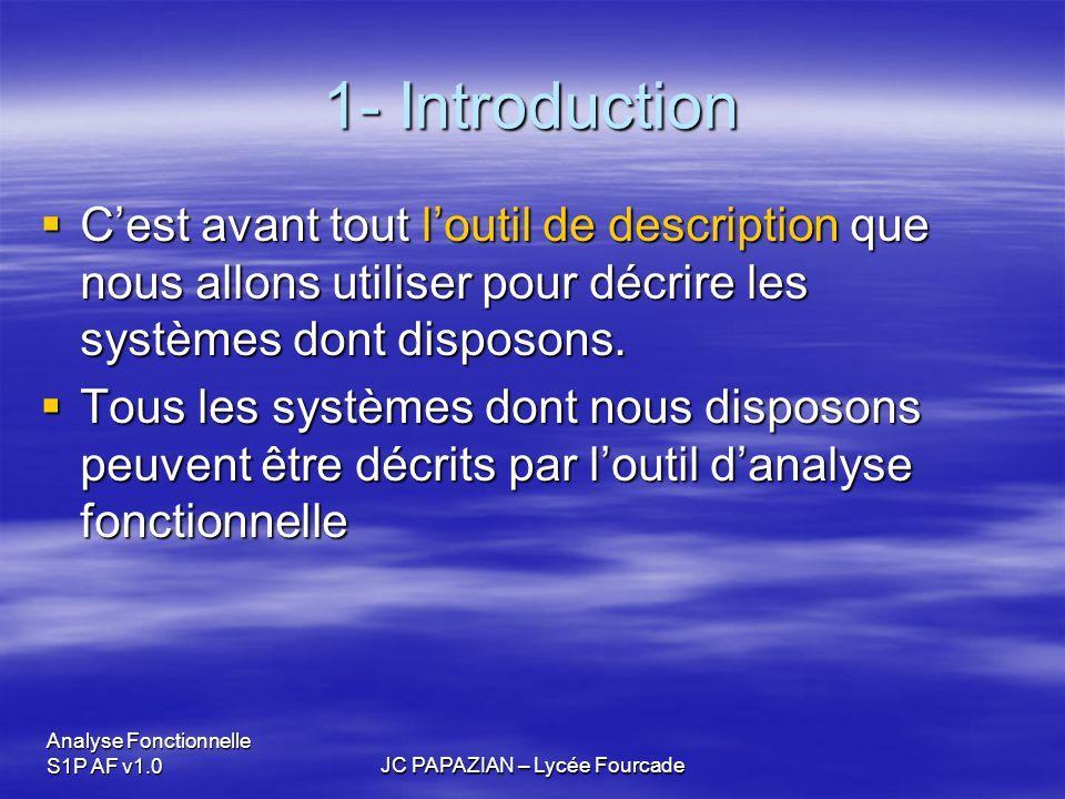 Analyse Fonctionnelle S1P AF v1.0JC PAPAZIAN – Lycée Fourcade 1- Introduction  C'est avant tout l'outil de description que nous allons utiliser pour