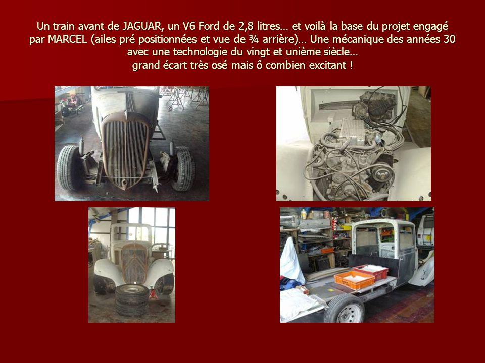 Un train avant de JAGUAR, un V6 Ford de 2,8 litres… et voilà la base du projet engagé par MARCEL (ailes pré positionnées et vue de ¾ arrière)… Une méc
