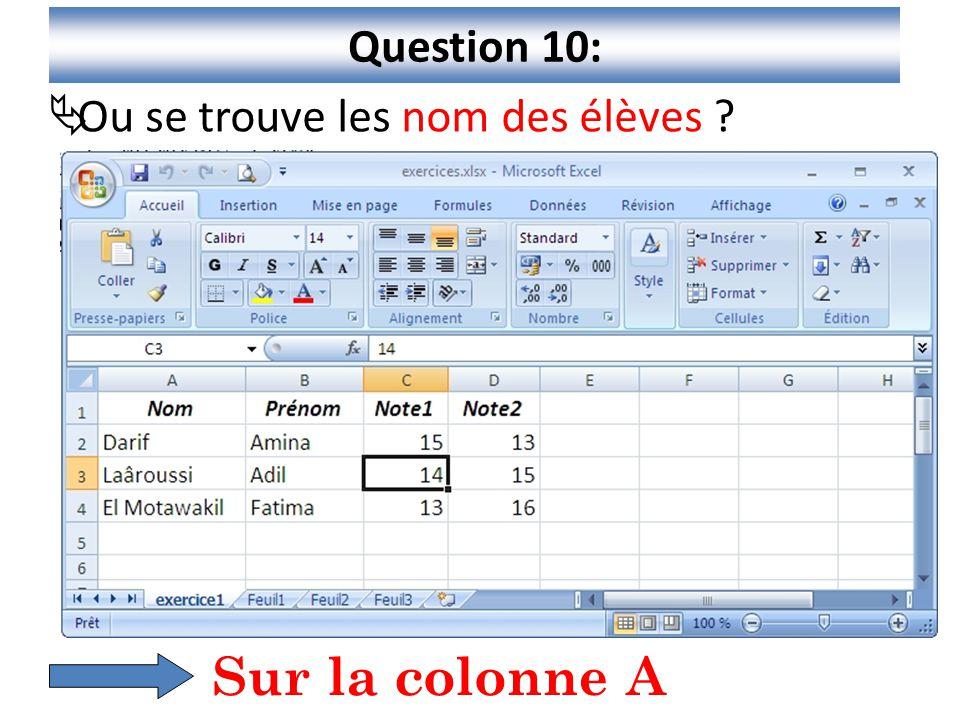 11 Question 10:  Ou se trouve les nom des élèves ? Sur la colonne A