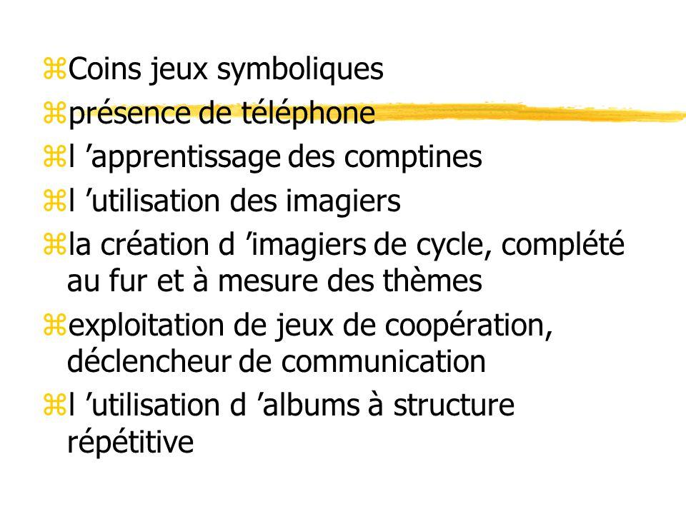 zCoins jeux symboliques zprésence de téléphone zl 'apprentissage des comptines zl 'utilisation des imagiers zla création d 'imagiers de cycle, complété au fur et à mesure des thèmes zexploitation de jeux de coopération, déclencheur de communication zl 'utilisation d 'albums à structure répétitive
