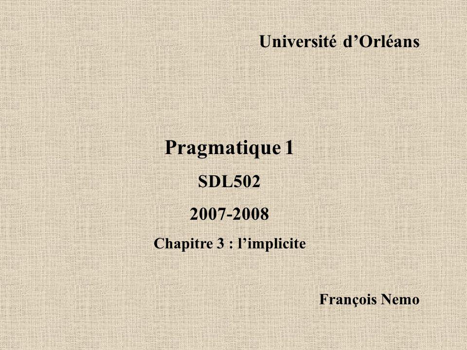 3.Pragmatiques de l 'implicite 3.1. Présupposition et d'implication 3.2.