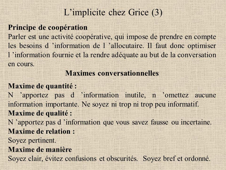 Principe de coopération Parler est une activité coopérative, qui impose de prendre en compte les besoins d 'information de l 'allocutaire.