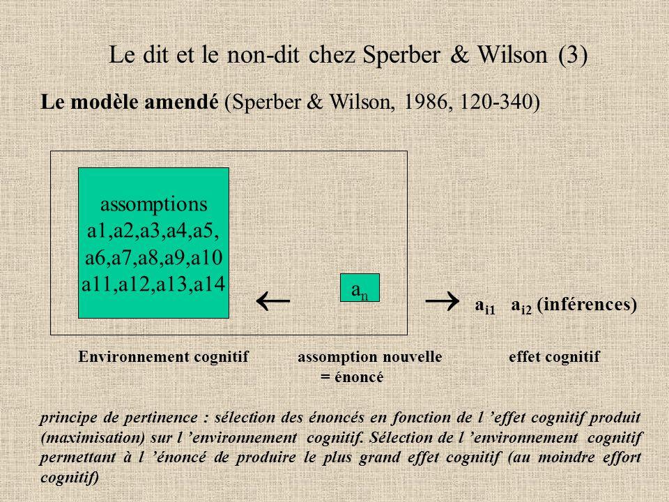 Le modèle amendé (Sperber & Wilson, 1986, 120-340)   a i1 a i2 (inférences) Environnement cognitif assomption nouvelle effet cognitif = énoncé principe de pertinence : sélection des énoncés en fonction de l 'effet cognitif produit (maximisation) sur l 'environnement cognitif.